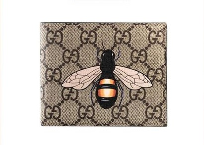 GUCCI蜜蜂印花人造帆布钱包
