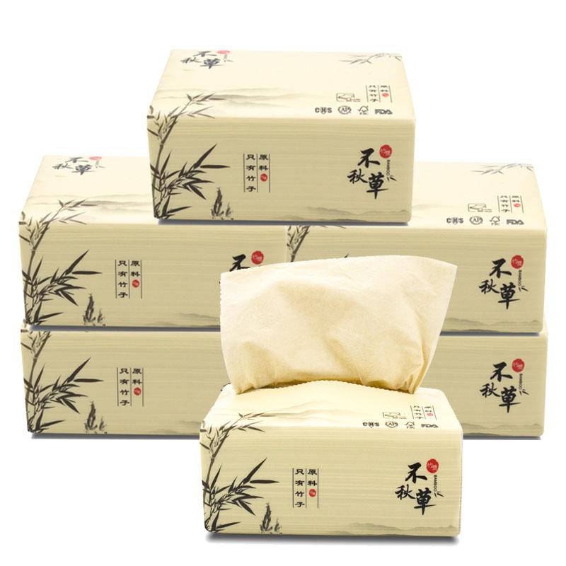 不秋草 原生竹浆竹纤维抽纸抽取式面巾纸 6包每提
