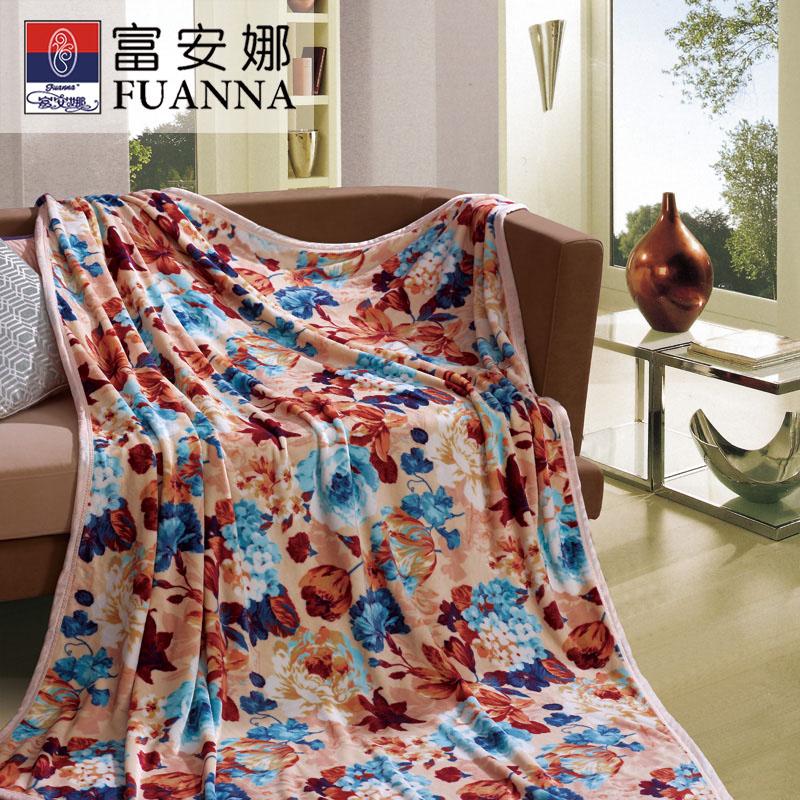 富安娜家纺 法兰绒毯 风姿溢彩840g 咖色 150*200