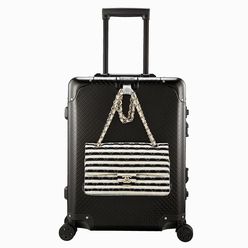 GKO硬箱旅行箱 箱子 女行李箱 登机箱铝镁合金拉杆箱万向轮登机箱子男C款格纹款涂鸦表面20寸