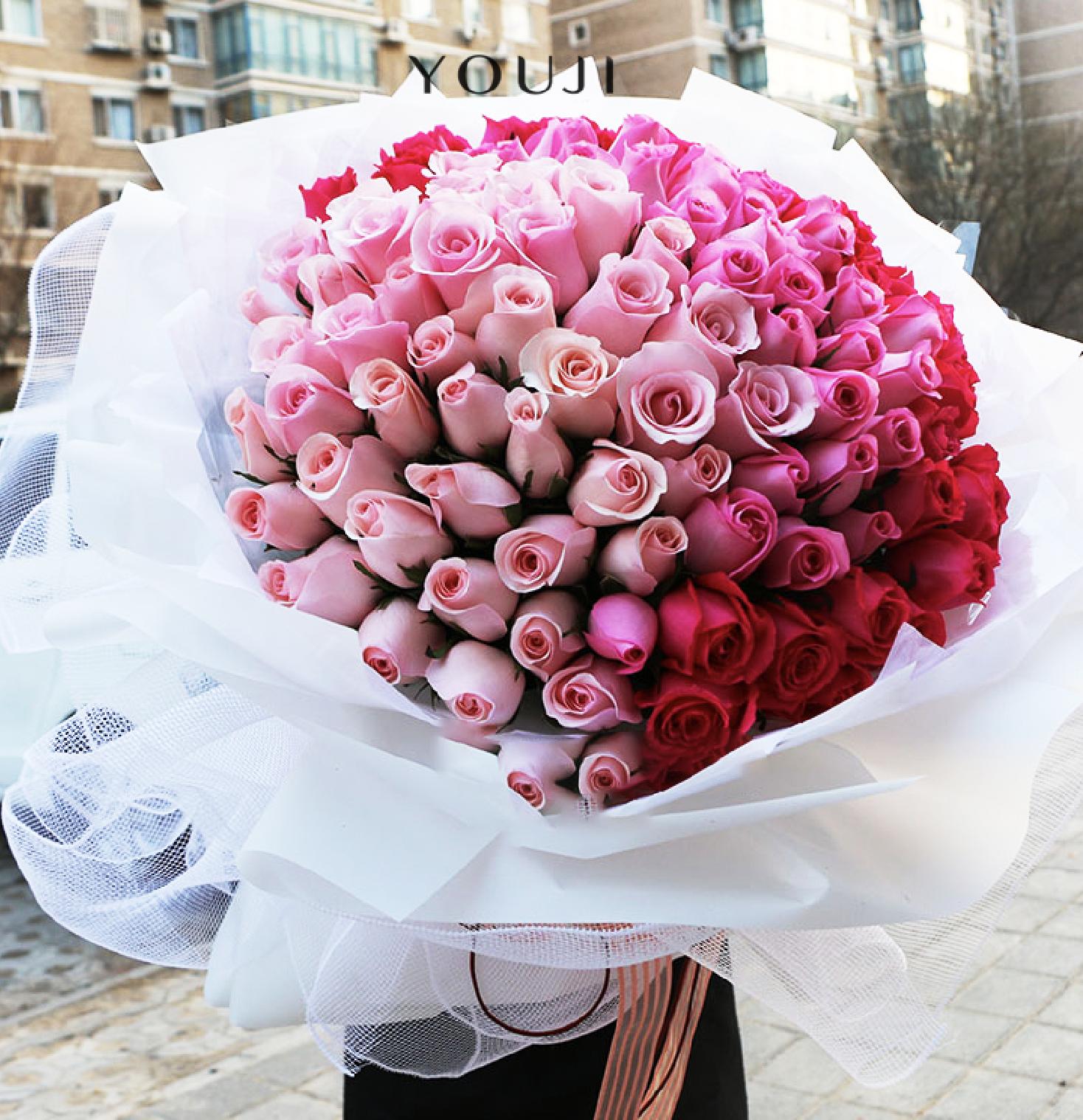 YOUJI尤己鲜花花束定制-99朵玫瑰99朵浅粉玫瑰桃粉桃红玫瑰多色混搭生日纪念日情人节