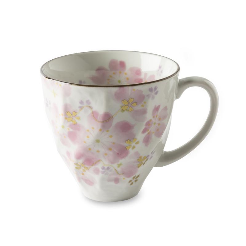 日本原产ceramic 蓝美浓烧陶瓷杯马克杯咖啡杯1只装樱灿灿