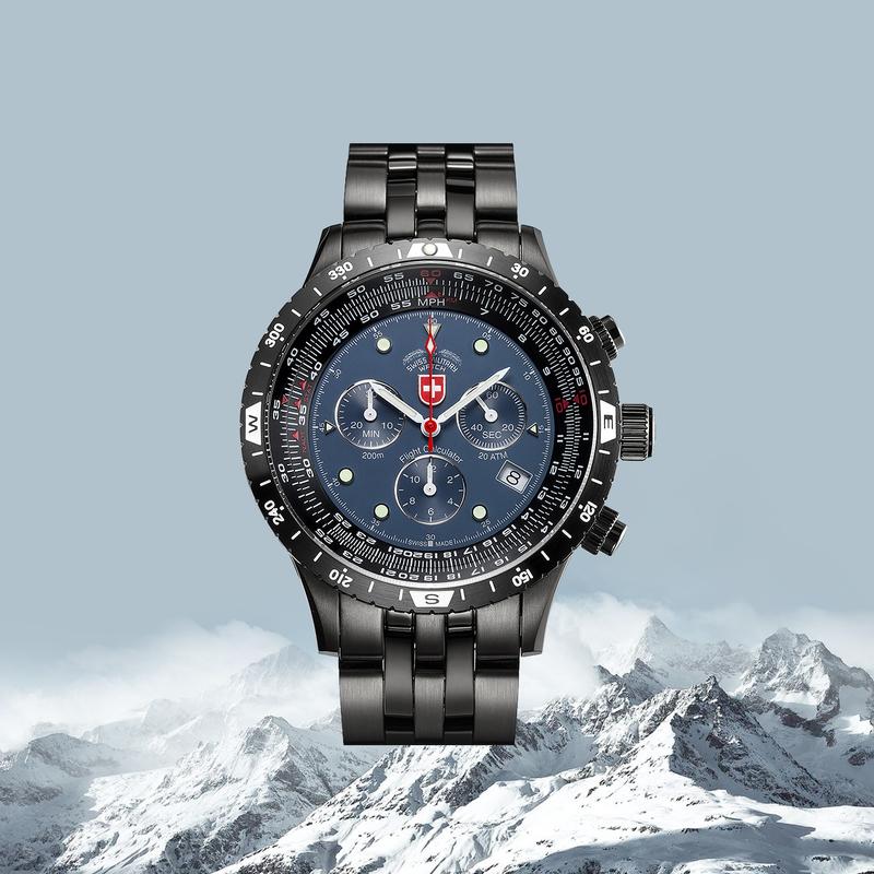 瑞士原产CHARMEX夏魅时空军1号飞行表瑞士军表男表200米防水