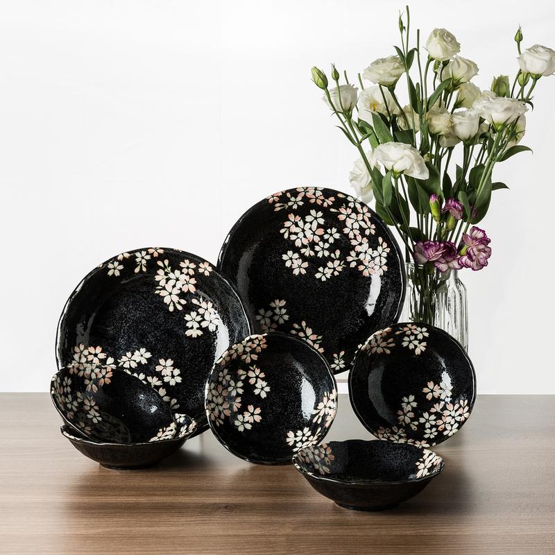 日本原产AITO宇野千代淡墨樱花美浓烧陶瓷碗碟7件套装