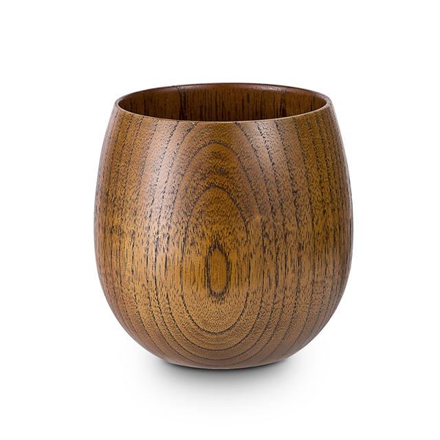 日本原产wakacho若兆 传统漆器栗木水杯茶杯水波纹