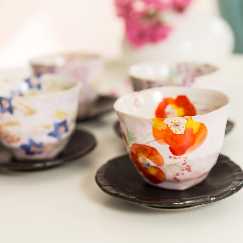 日本原产AITO抚松庵系列美浓烧陶瓷茶杯托茶具5件套