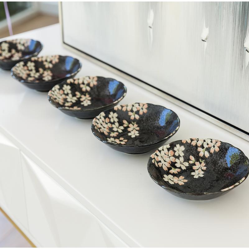 日本原产AITO宇野千代淡墨樱花美浓烧陶瓷碗汤碗 5件套装