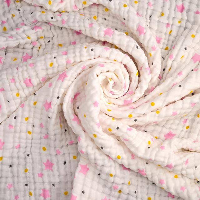 新西兰CRIA儿童六层纱布毛巾被粉色五角星