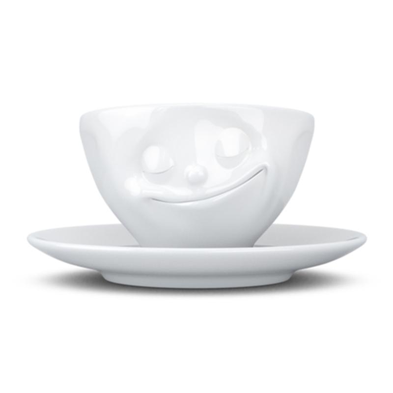 德国Fiftyeight Tassen陶瓷卡通表情碗咖啡碗咖啡杯200ml幸福