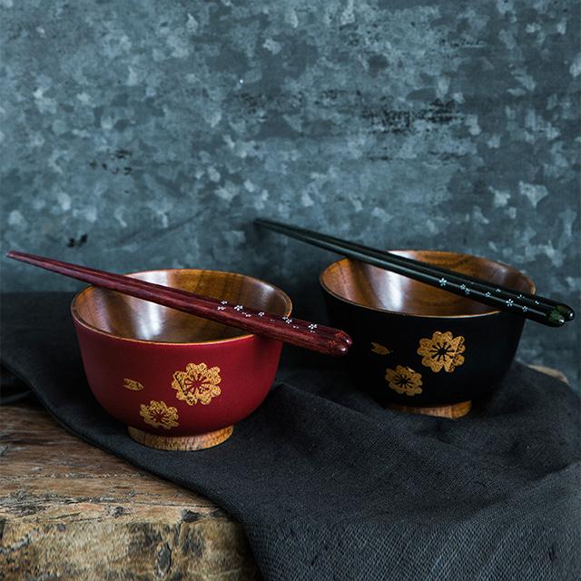日本原产wakacho若兆 传统漆器栗木饭碗木筷夫妻碗筷套装
