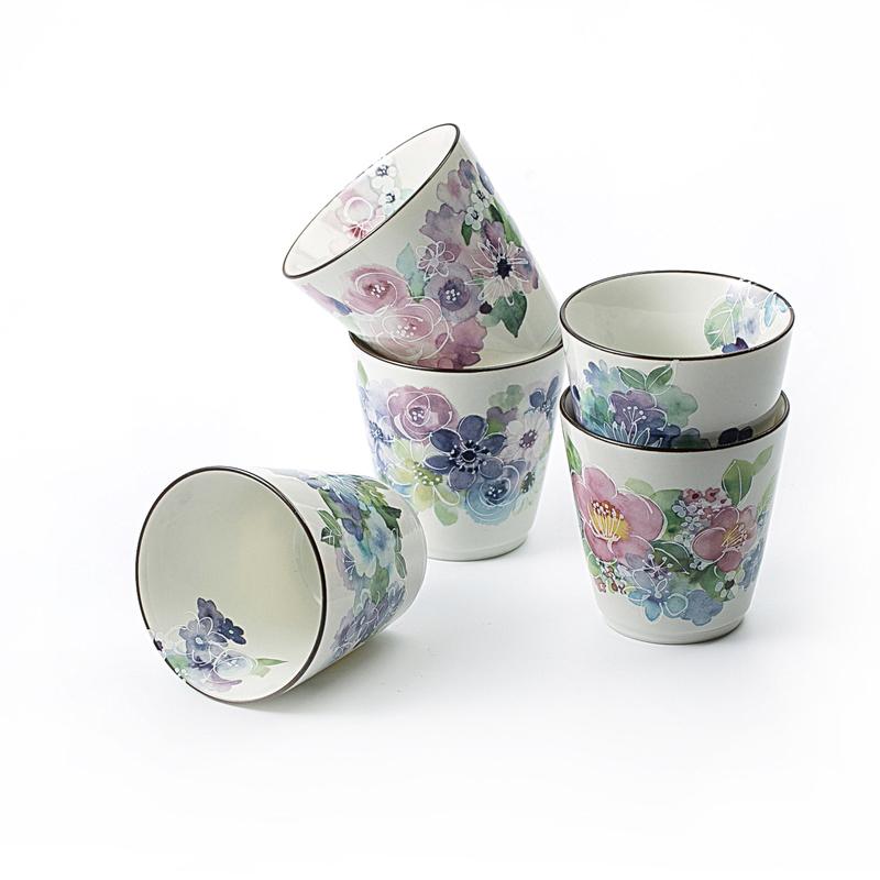 日本原产ceramic 蓝 手工陶瓷茶杯水杯 花工房5个装