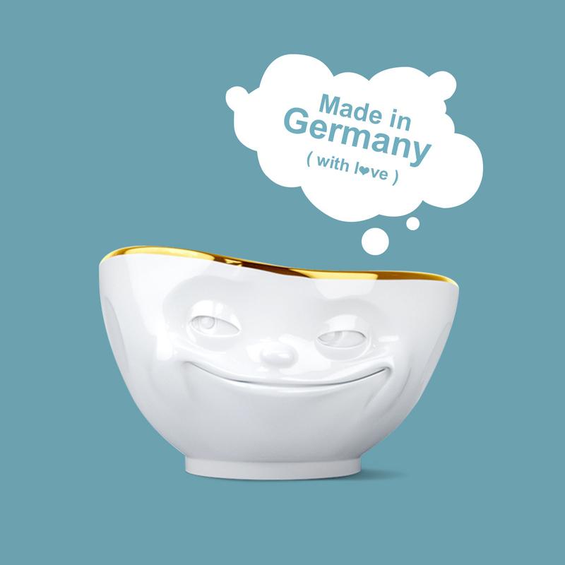 德国原产Fiftyeight Tassen陶瓷卡通表情碗金边碗创意碗500ml