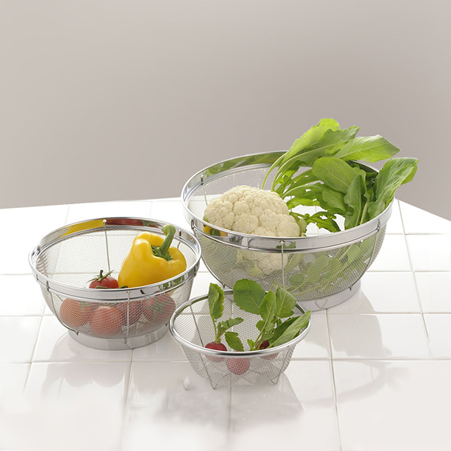 日本原产YOSHIKAWA 吉川燕三条厨房用不锈钢滤盆3件套装
