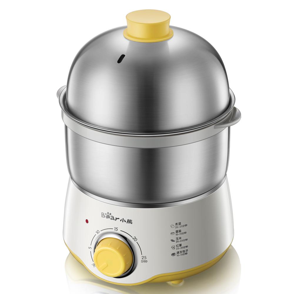 小熊(Bear) 煮蛋器 双层迷你定时不锈钢蒸蛋器煮蛋机蒸蛋机早餐机自动断电 ZDQ-A07U1