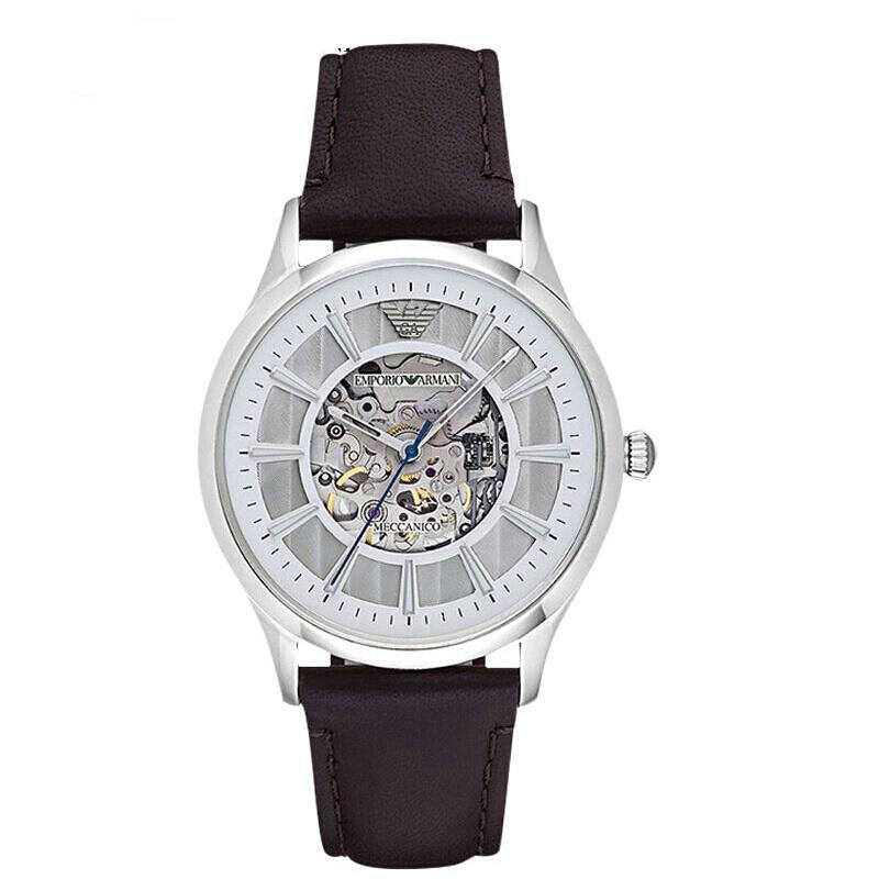 阿玛尼(ARMANI)手表男士手表 全自动机械镂空时尚商务男表机械表 机械钢带男表 AR1946