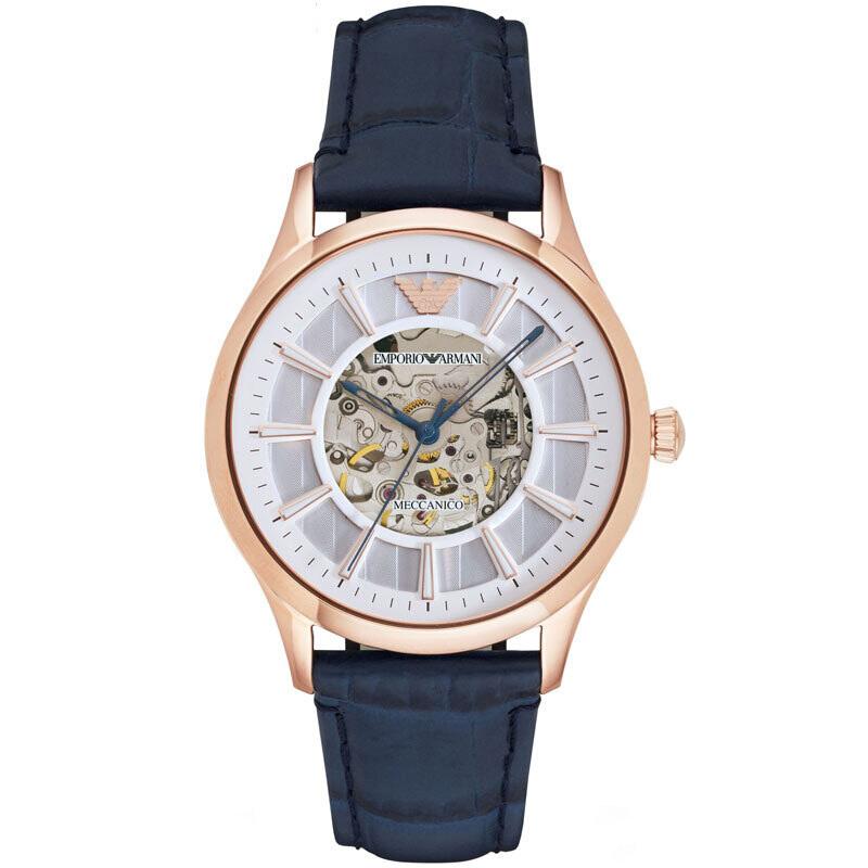 阿玛尼(Emporio Armani)手表皮质表带男士休闲时尚机械腕表AR1947
