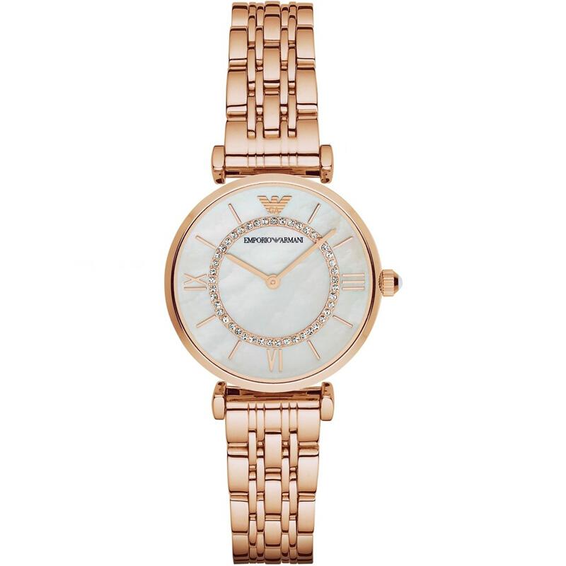 阿玛尼(ARMANI)女士手表 优雅简约圆盘薄款经典潮流时装女表腕表 防水钢带石英表女 AR1909