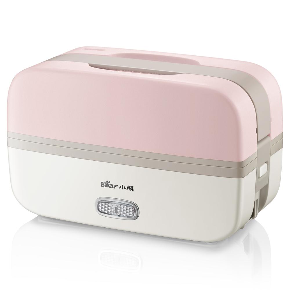 小熊(Bear)电热饭盒上班族 双层304不锈钢内胆蒸煮可插电热饭器加热饭盒可抽真空 粉色 DFH-B10J2
