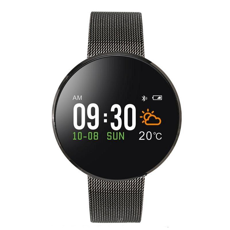 欧达智能心率血压运动手环S12 钢表带