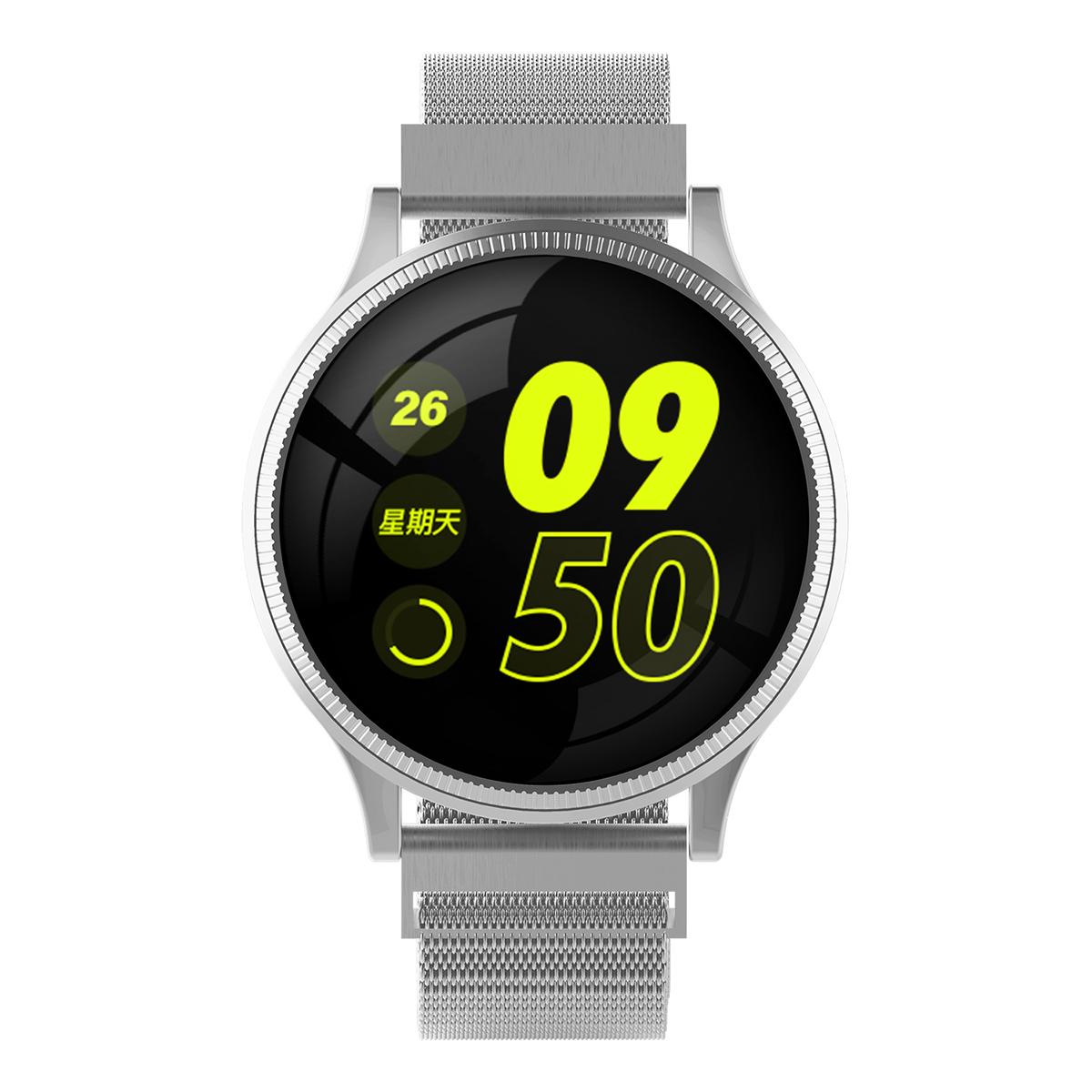 欧达时尚典雅圆形智能手环镜面屏运动血压计步多运动模式MK08