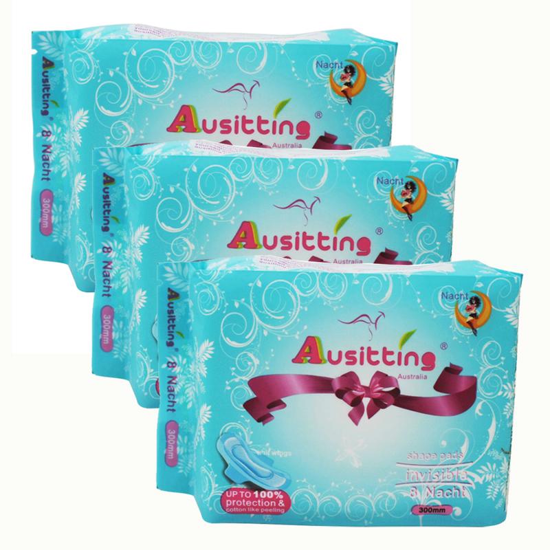 澳洲澳大利亚Ausitting澳丝婷纯棉夜用卫生巾300mm 8片/包(3包装,24片)