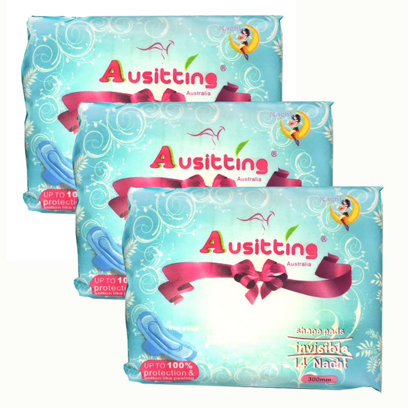 澳洲澳大利亚Ausitting澳丝婷纯棉夜用卫生巾300mm 14片/包(3包装,42片)