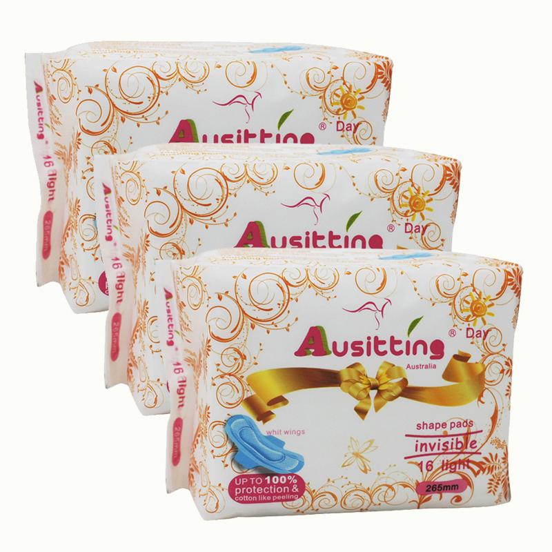 澳洲澳大利亚Ausitting澳丝婷纯棉日用卫生巾265mm 16片/包(3包装,48片)