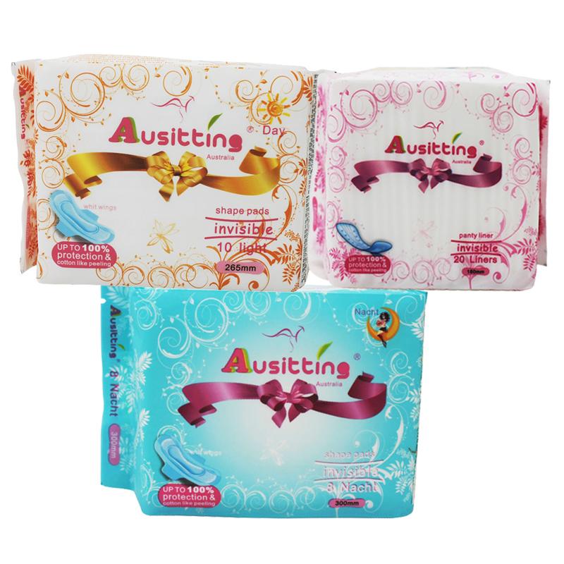 澳洲澳大利亚Ausitting澳丝婷纯棉日夜卫生巾护垫小包组合265mm+300mm+180mm(3包共38片)