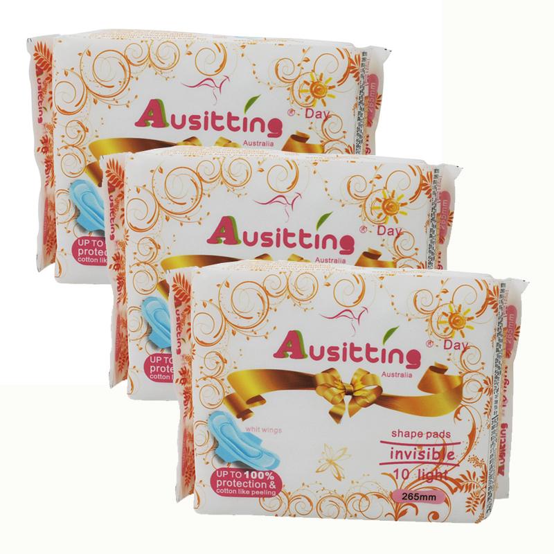 澳洲澳大利亚Ausitting澳丝婷纯棉日用卫生巾265mm 10片/包(3包装,30片)