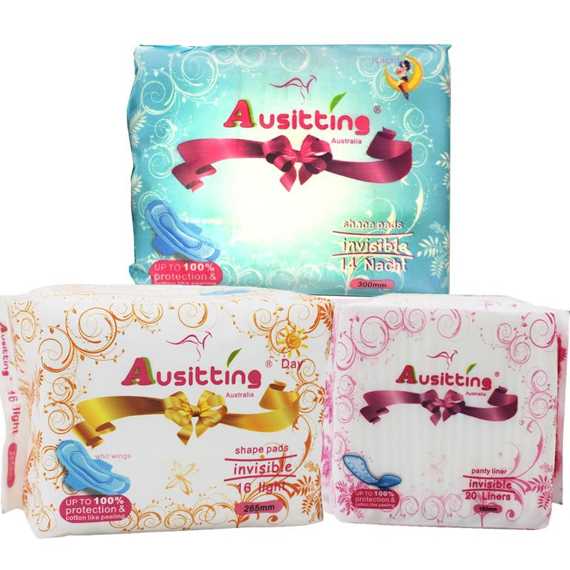 澳洲澳大利亚Ausitting澳丝婷纯棉日夜卫生巾护垫大包组合265mm+300mm+180mm (3包共50片)