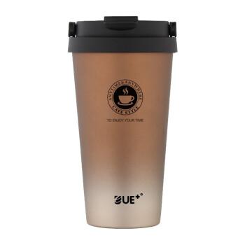 優宜家(E UE+)304不锈钢随行杯便携提手保温水杯咖啡杯情侣杯办公杯UE-0732 渐变咖 500ML