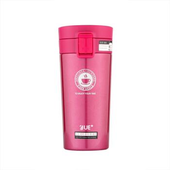 優宜家(E UE+) 车载单手一键弹跳盖咖啡杯不锈钢米克保温杯男女办公水杯 粉红色380ML