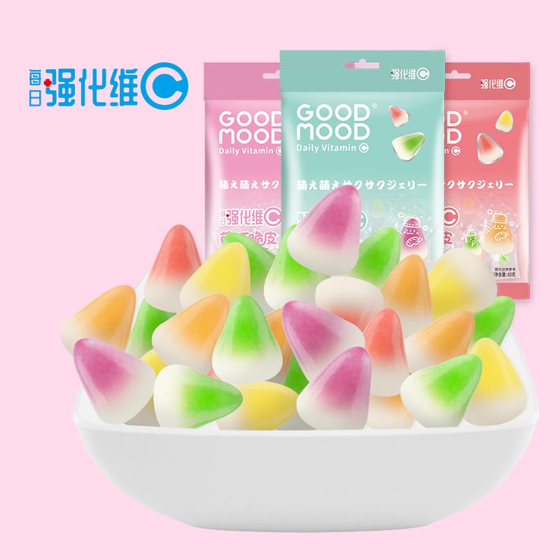 好心情维生素C萌叮软心糖高颜值儿童水果牛奶糖可爱网红休闲零食