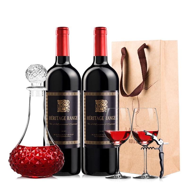 【赠酒具套装】750ml*2瓶法国原瓶进口赫里蒂岭干红葡萄酒