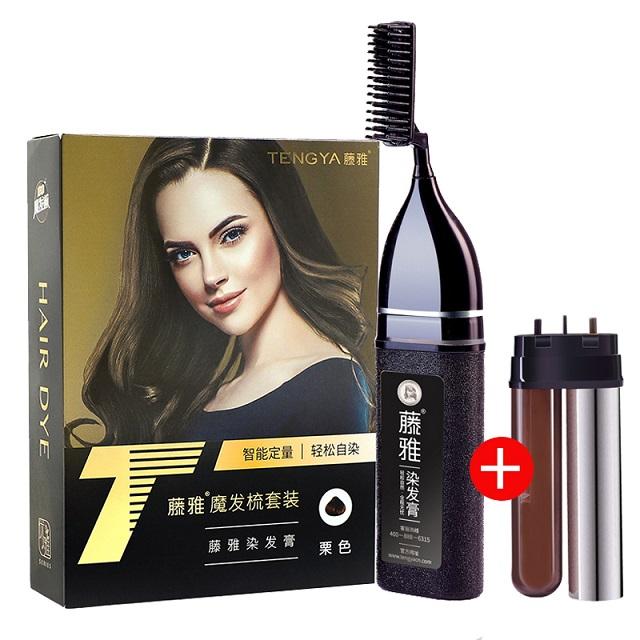藤雅组合装优雅魔发梳套装+优雅配液管焗发梳一梳黑 栗色持久染发