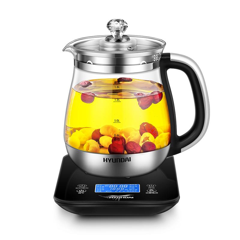 韩国现代(HYUNDAI)养生壶1.8L全自动多功能旋钮玻璃煮茶器电热水壶花茶壶QC-YS1872