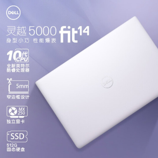 戴尔 灵越 IN5490-1625L   I5-I5-10210 14寸屏 笔记本电脑 紫色