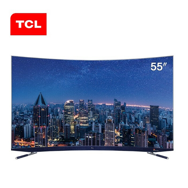 TCL超薄曲面电视机C5 智能4K超高清哈曼卡顿音响34核2+16GB人工智能语音电视 55C5