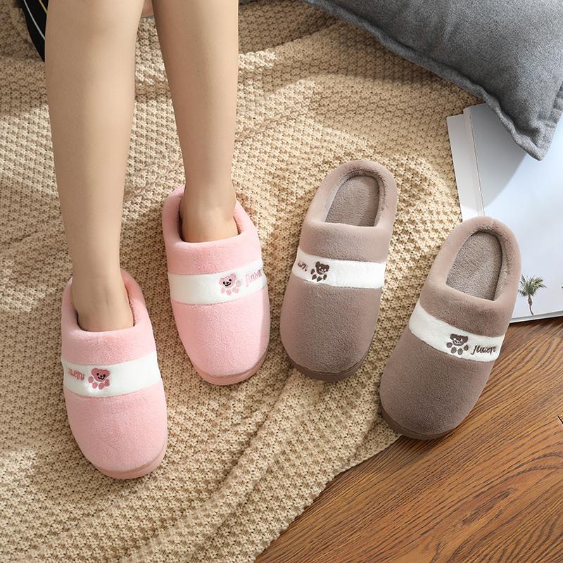 加厚棉拖鞋保暖女男冬季可爱韩版居家学生情侣室内天防滑包跟