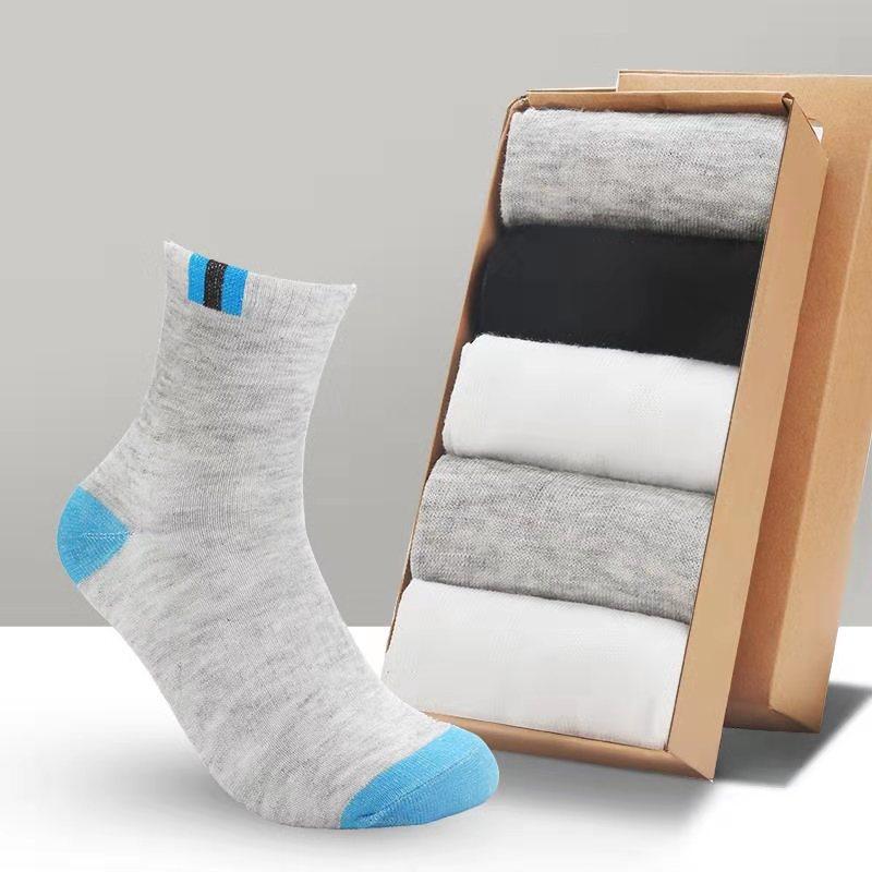 吸汗运动中筒袜运动徒步袜男女休闲袜 5双装