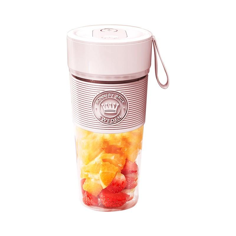 瑞徕德榨汁机 便携式果汁搅拌奶昔婴儿辅食机家用迷你榨汁杯充电式料理机 樱花粉(青春版)