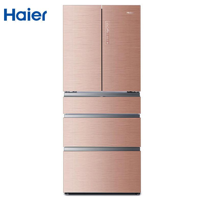 海尔(Haier)BCD-405WDGQU1 405升 多门冰箱 风冷无霜 一级能效 变频 对开门冰箱干湿分储(玫瑰金)