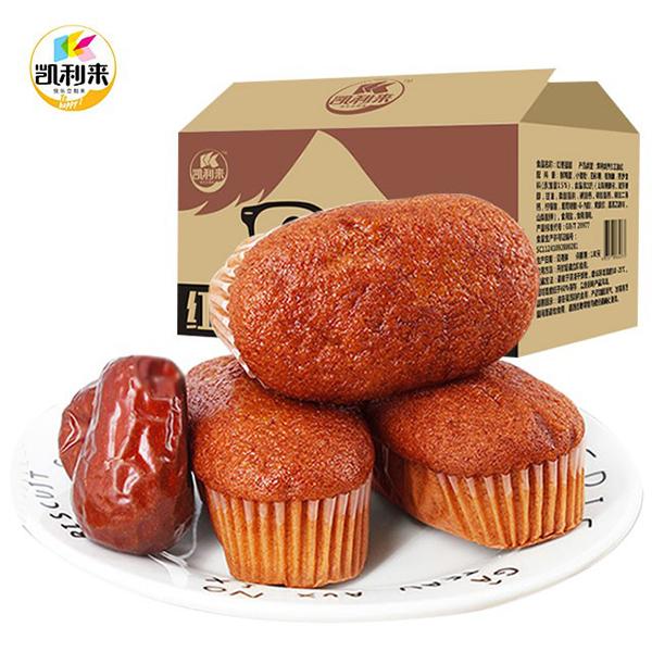 凯利来红枣蛋糕500g营养早餐面包整箱网红小吃