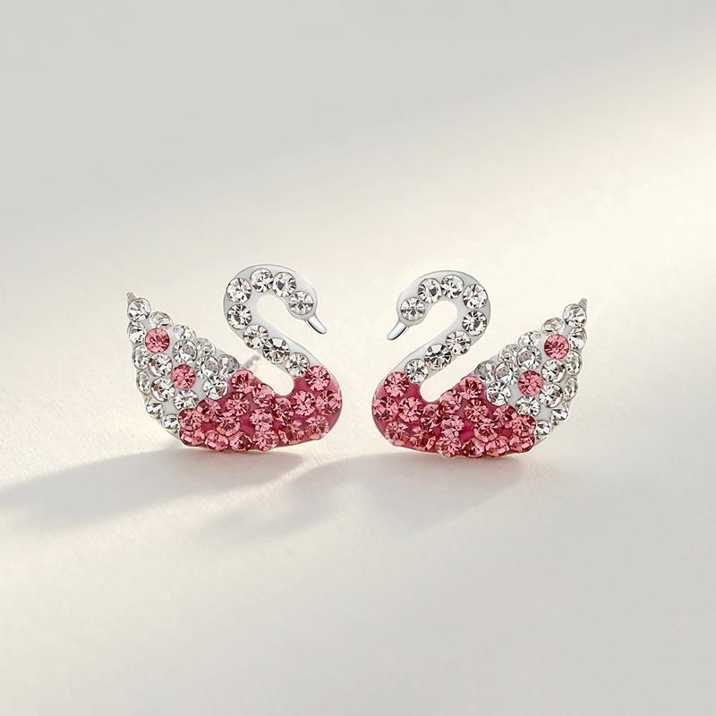 925银耳钉银针气质优雅粉色天鹅纯银耳环耳饰银饰年会配饰