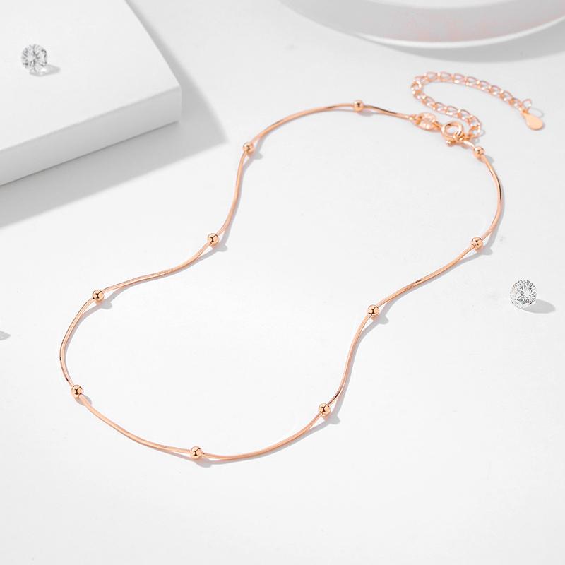 925纯银choker项链颈链玫瑰金锁骨链项圈颈圈颈带短款脖子银饰品