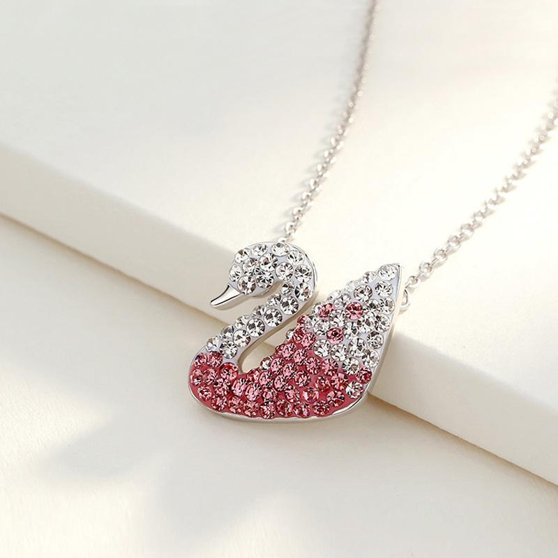 925银锁骨链颈链红色粉红天鹅纯银项链吊坠可调节延长链闺蜜礼物