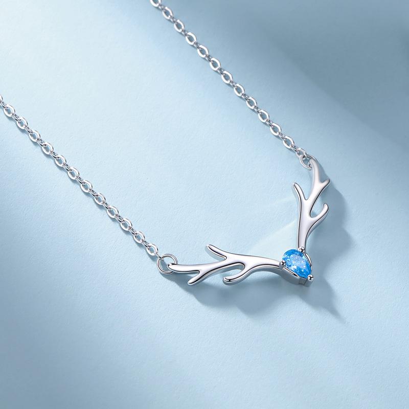 999纯银项链一路有你蓝色鹿角吊坠颈链简约麋鹿银饰品闺蜜礼物