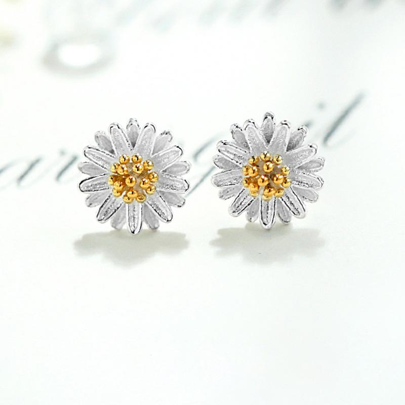 925银耳钉森系小清新花朵唯美小雏菊日韩风格银针银耳针银饰