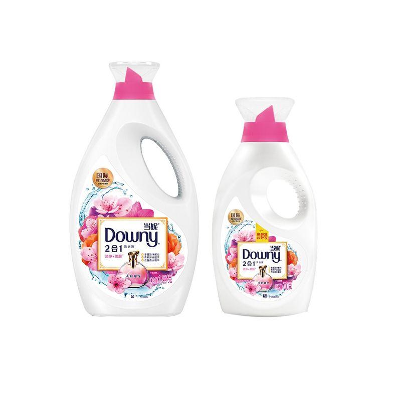 当妮 Downy 2合1柔顺洗衣液 香水洗衣液(淡粉樱花)700g+1.9Kg  组合装 不加柔顺剂也能柔顺 持久留香