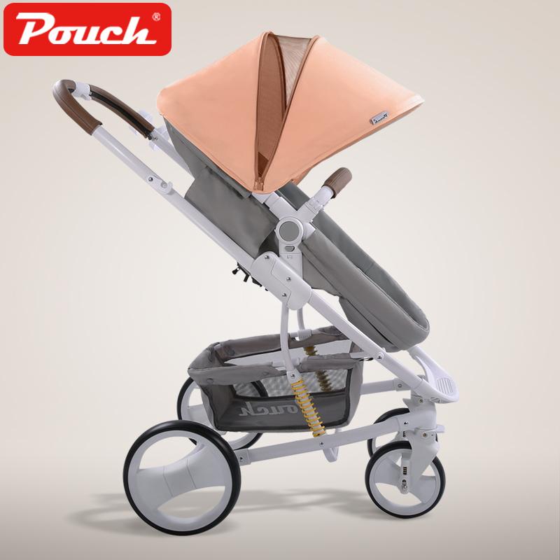 Pouch 帛琦 婴儿推车高景观可坐可躺双向儿童手推车可折叠轻便宝宝推车 P35